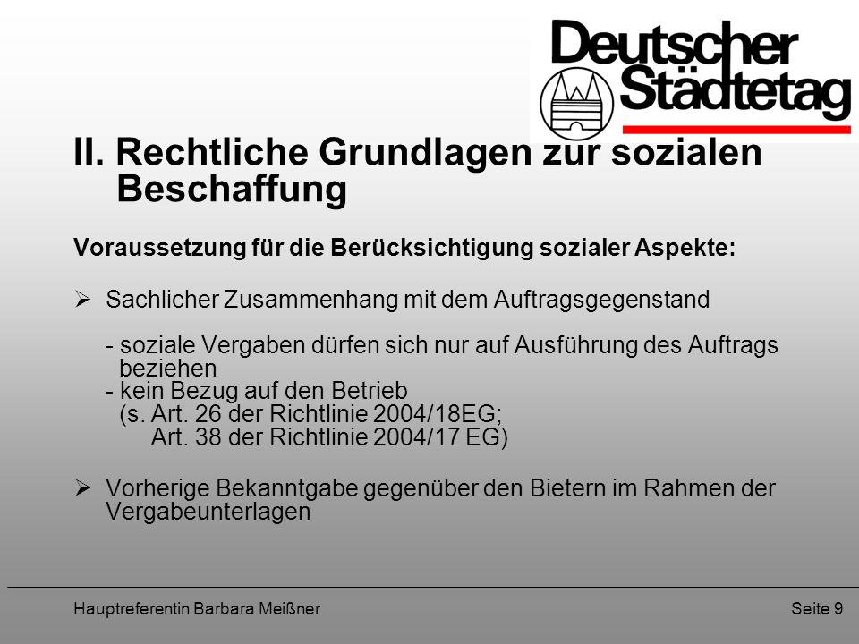 II. Rechtliche Grundlagen zur sozialen Beschaffung