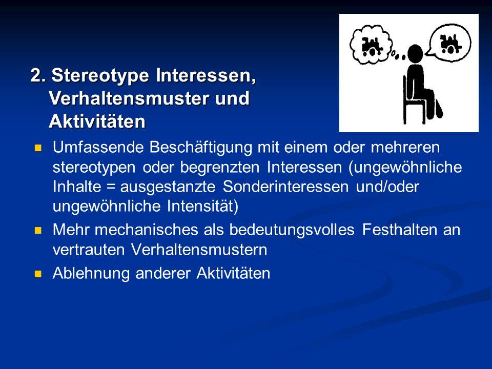 2. Stereotype Interessen, Verhaltensmuster und Aktivitäten