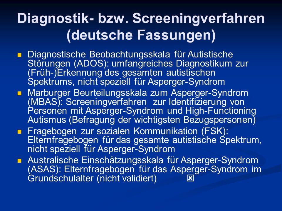 Diagnostik- bzw. Screeningverfahren (deutsche Fassungen)