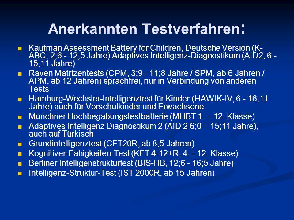 Anerkannten Testverfahren: