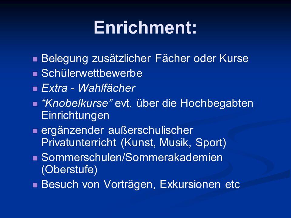 Enrichment: Belegung zusätzlicher Fächer oder Kurse Schülerwettbewerbe