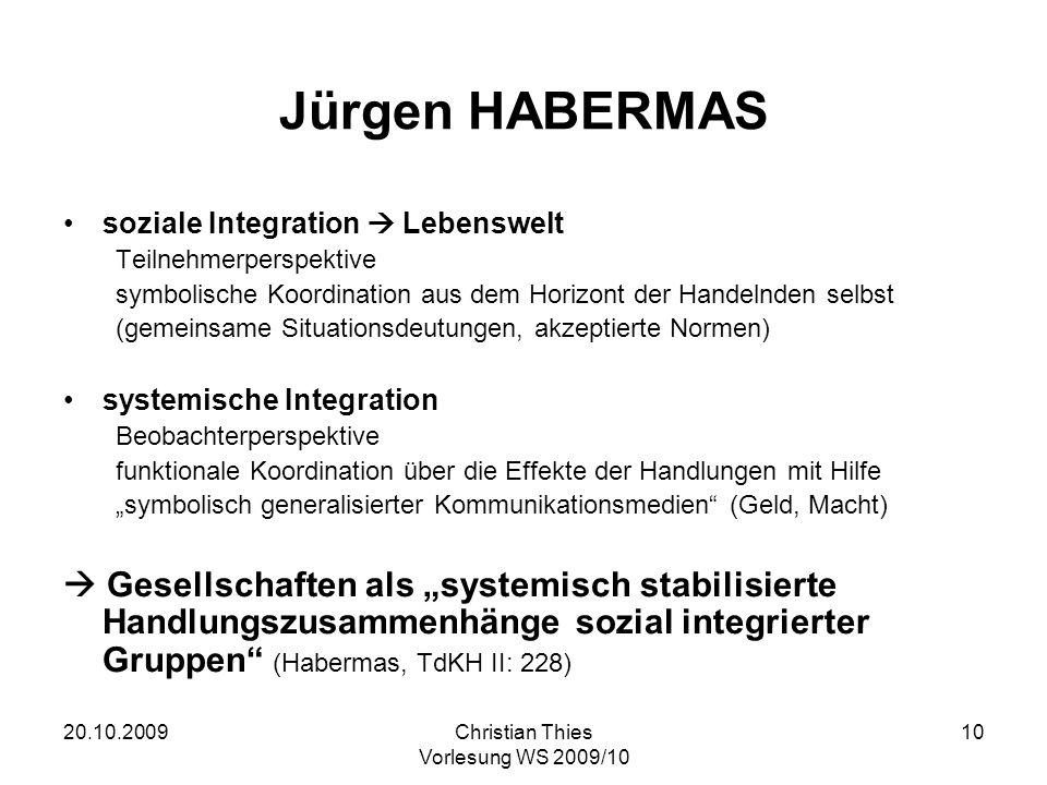 Jürgen HABERMAS soziale Integration  Lebenswelt. Teilnehmerperspektive. symbolische Koordination aus dem Horizont der Handelnden selbst.