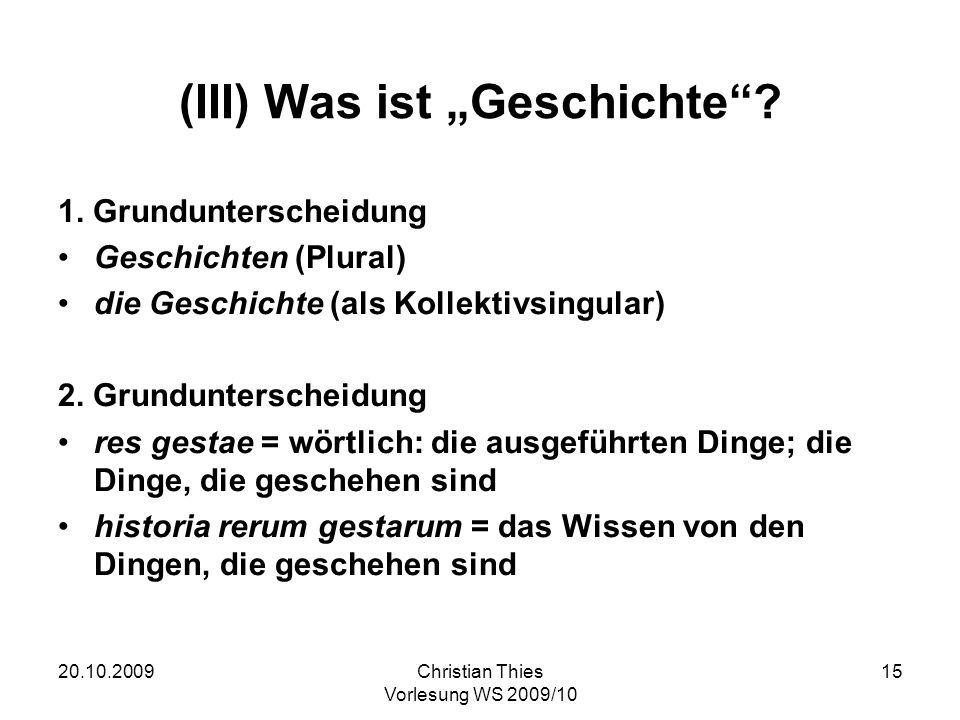 """(III) Was ist """"Geschichte"""