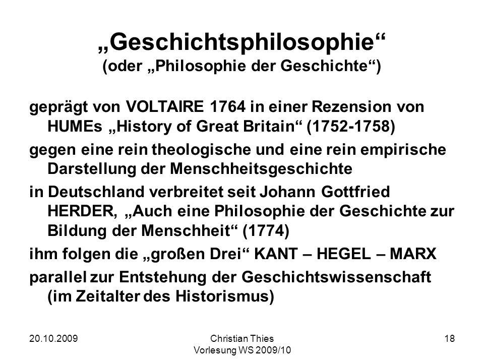 """""""Geschichtsphilosophie (oder """"Philosophie der Geschichte )"""