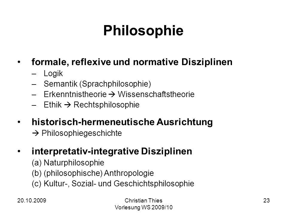 Philosophie formale, reflexive und normative Disziplinen