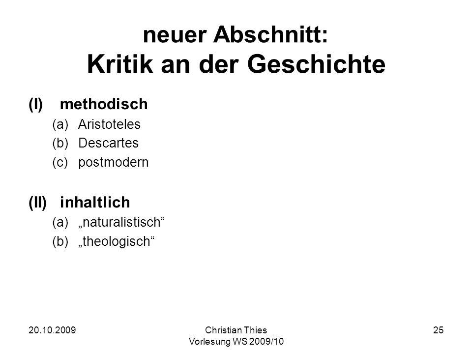 neuer Abschnitt: Kritik an der Geschichte