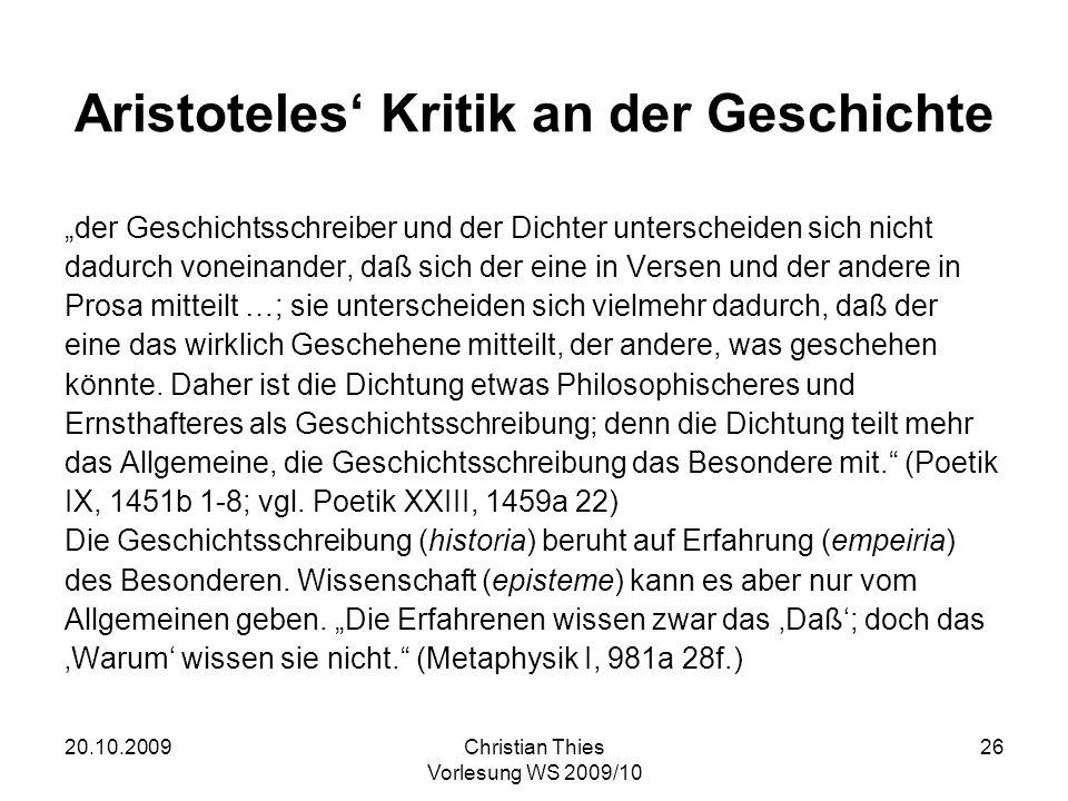 Aristoteles' Kritik an der Geschichte