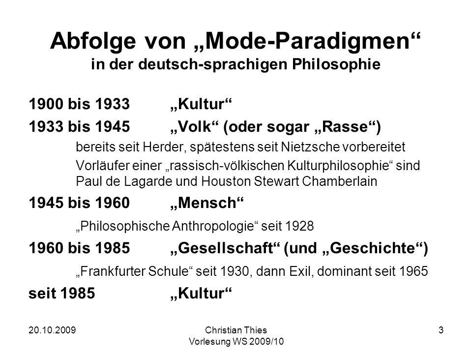 """Abfolge von """"Mode-Paradigmen in der deutsch-sprachigen Philosophie"""