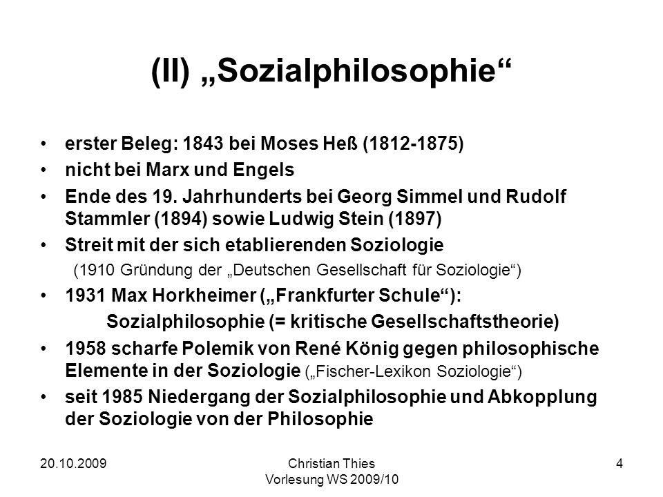 "(II) ""Sozialphilosophie"