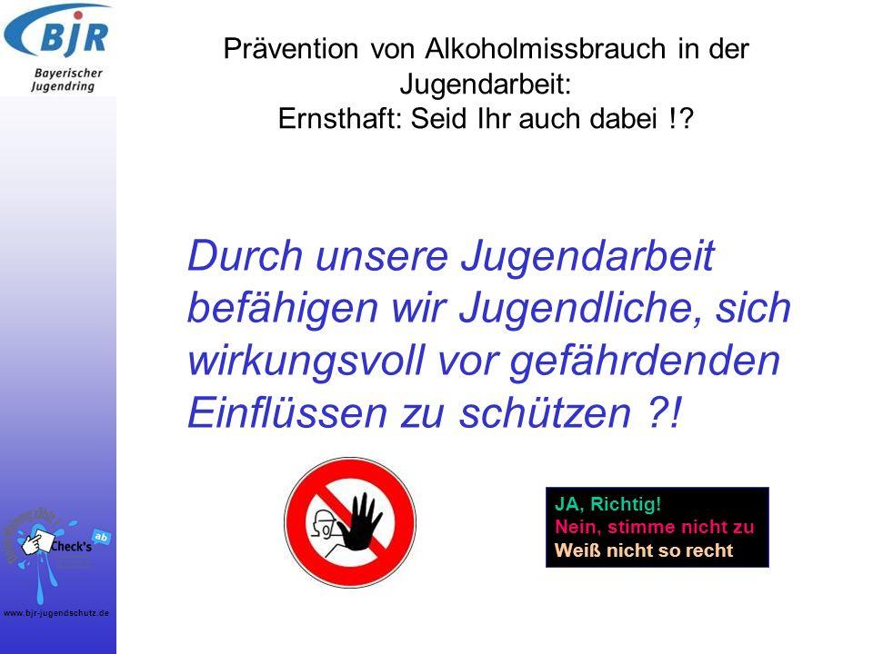 Prävention von Alkoholmissbrauch in der Jugendarbeit: Ernsthaft: Seid Ihr auch dabei !