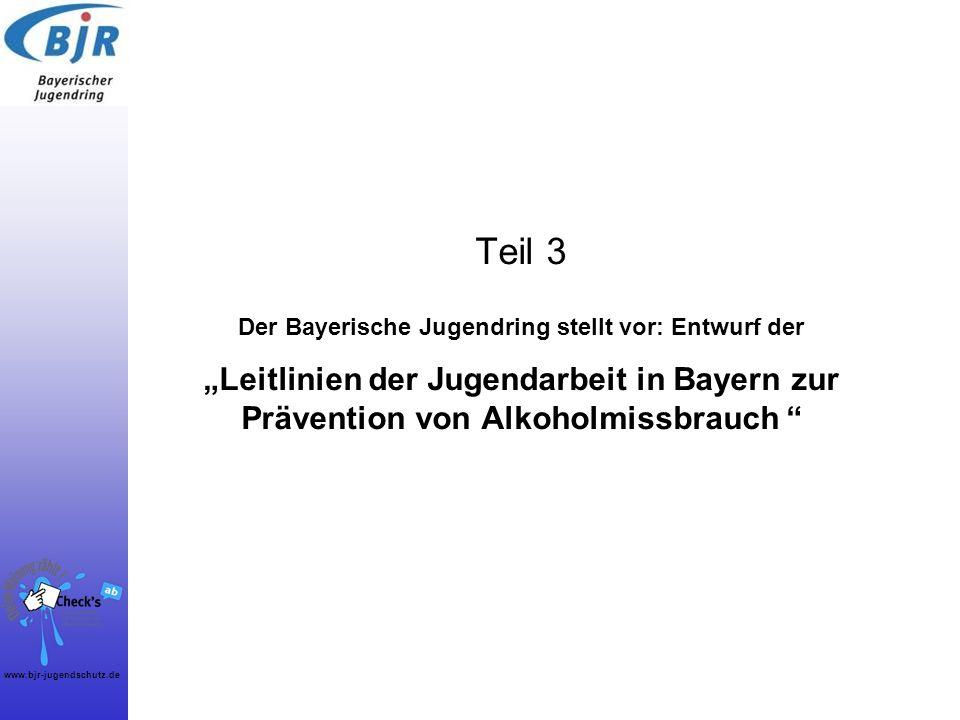 """Teil 3 Der Bayerische Jugendring stellt vor: Entwurf der """"Leitlinien der Jugendarbeit in Bayern zur Prävention von Alkoholmissbrauch"""