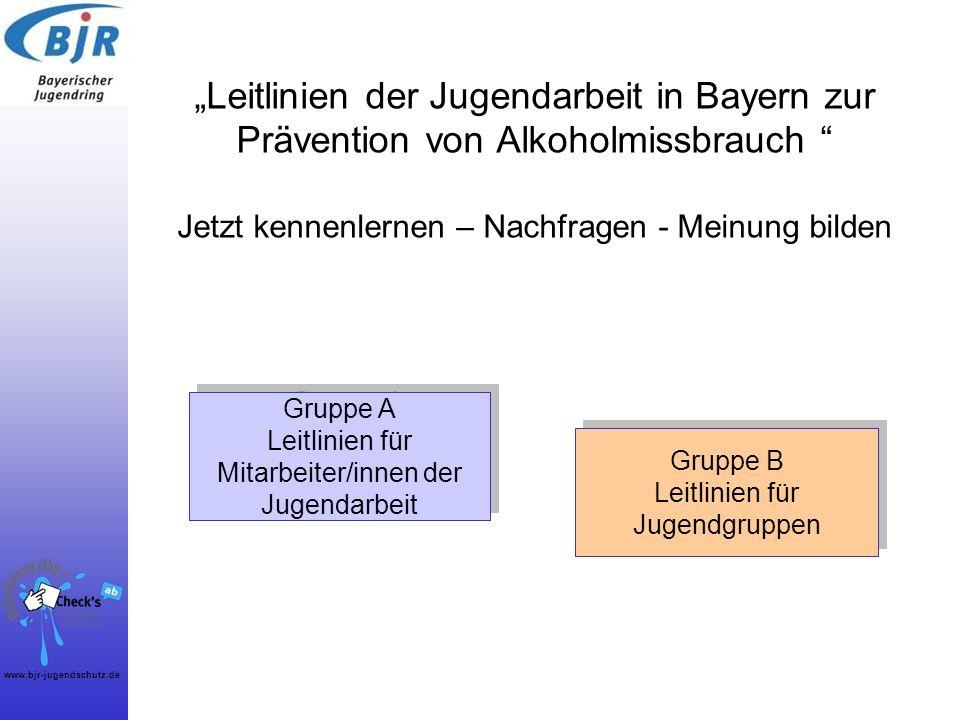 """""""Leitlinien der Jugendarbeit in Bayern zur Prävention von Alkoholmissbrauch Jetzt kennenlernen – Nachfragen - Meinung bilden"""