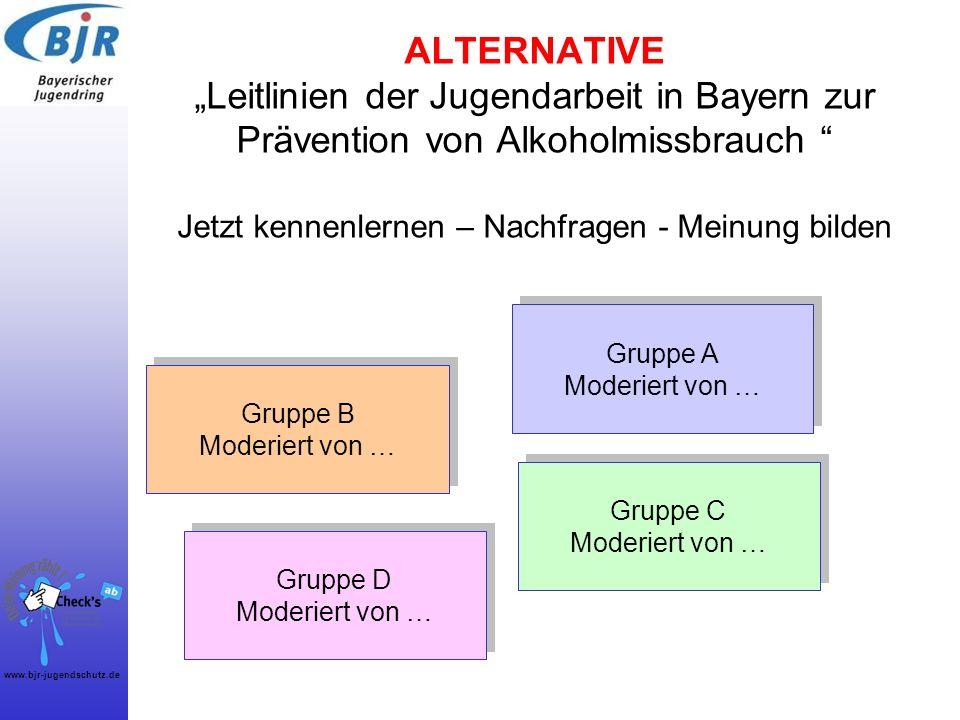 """ALTERNATIVE """"Leitlinien der Jugendarbeit in Bayern zur Prävention von Alkoholmissbrauch Jetzt kennenlernen – Nachfragen - Meinung bilden"""