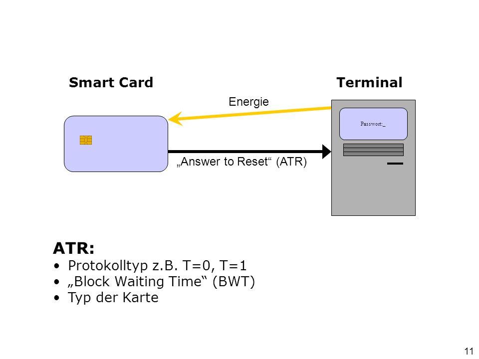 ATR: Smart Card Terminal Protokolltyp z.B. T=0, T=1