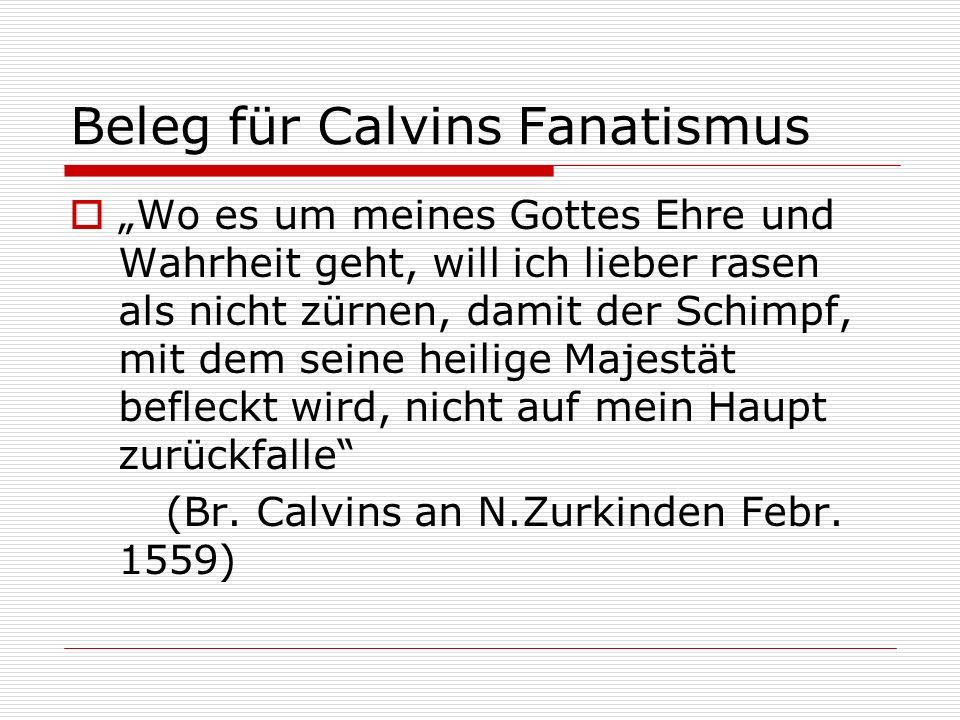 Beleg für Calvins Fanatismus