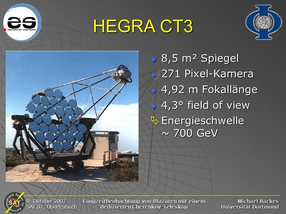 HEGRA CT3 8,5 m² Spiegel 271 Pixel-Kamera 4,92 m Fokallänge