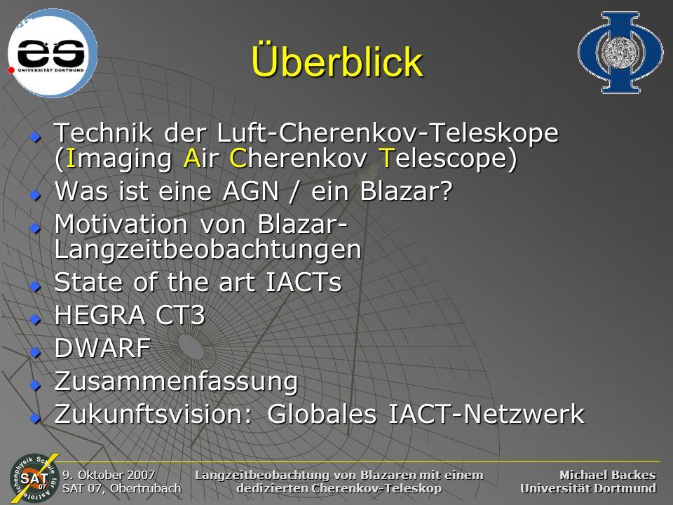 Überblick Technik der Luft-Cherenkov-Teleskope (Imaging Air Cherenkov Telescope) Was ist eine AGN / ein Blazar