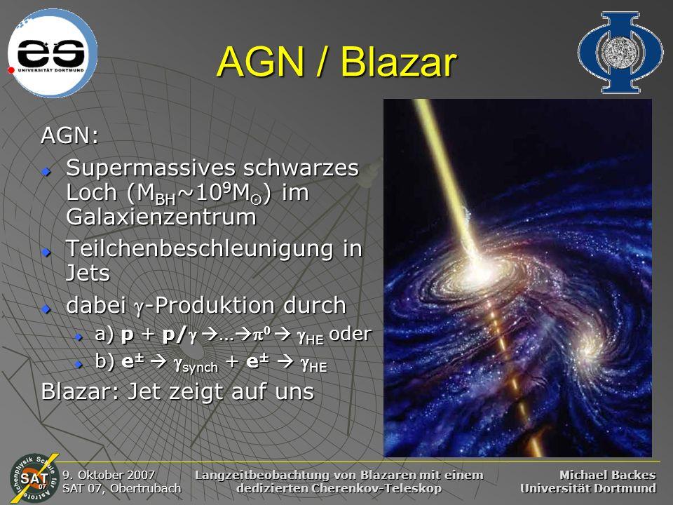 AGN / Blazar AGN: Supermassives schwarzes Loch (MBH~109Mʘ) im Galaxienzentrum. Teilchenbeschleunigung in Jets.
