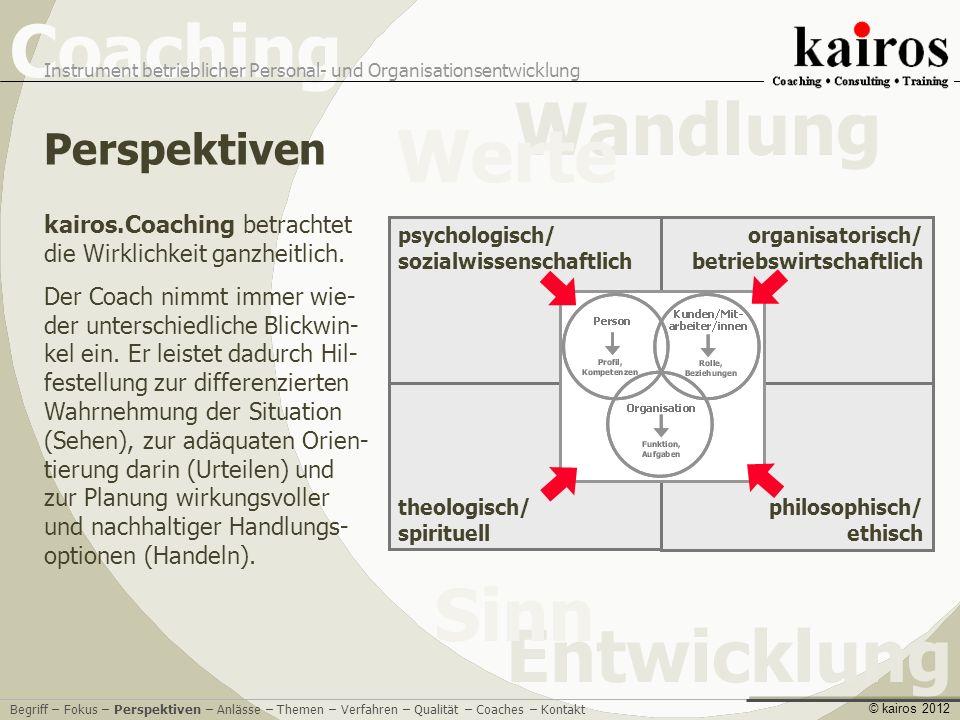 Perspektiven kairos.Coaching betrachtet die Wirklichkeit ganzheitlich.