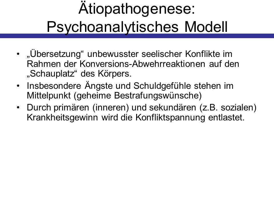 Ätiopathogenese: Psychoanalytisches Modell