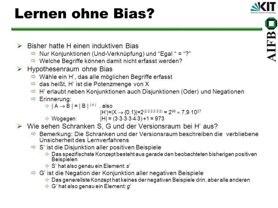 Lernen ohne Bias Bisher hatte H einen induktiven Bias