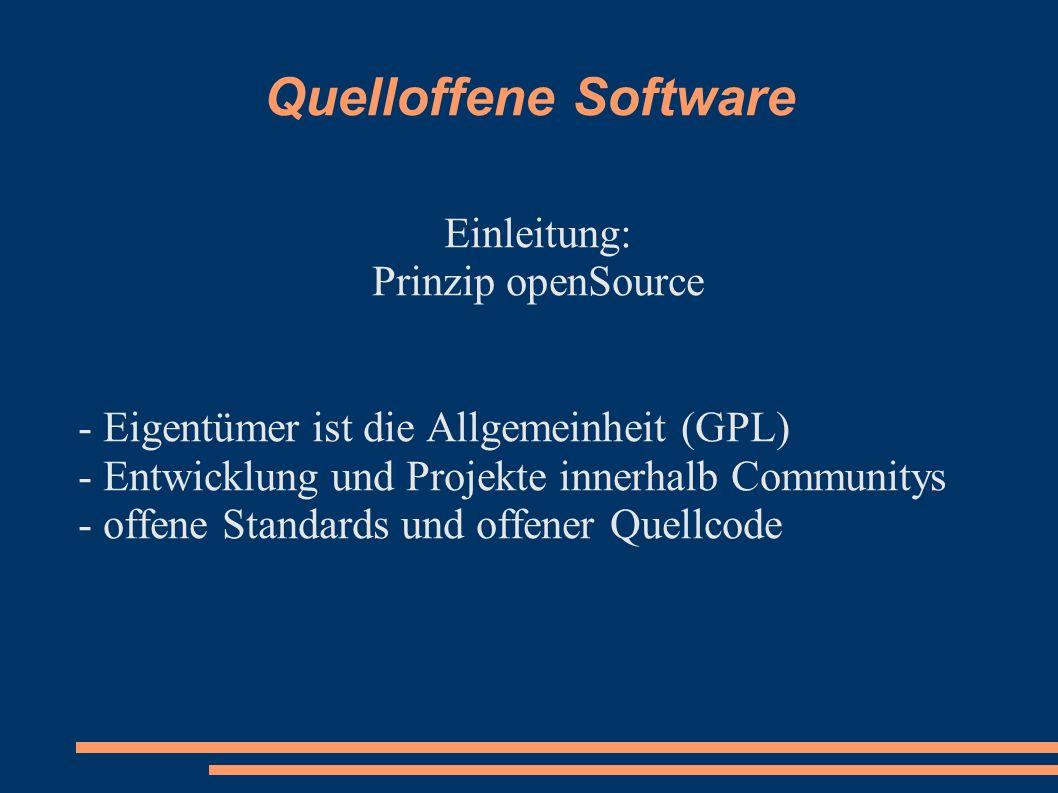 Quelloffene Software Einleitung: Prinzip openSource