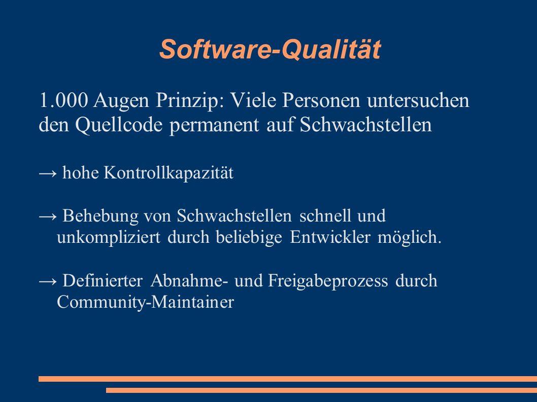 Software-Qualität 1.000 Augen Prinzip: Viele Personen untersuchen