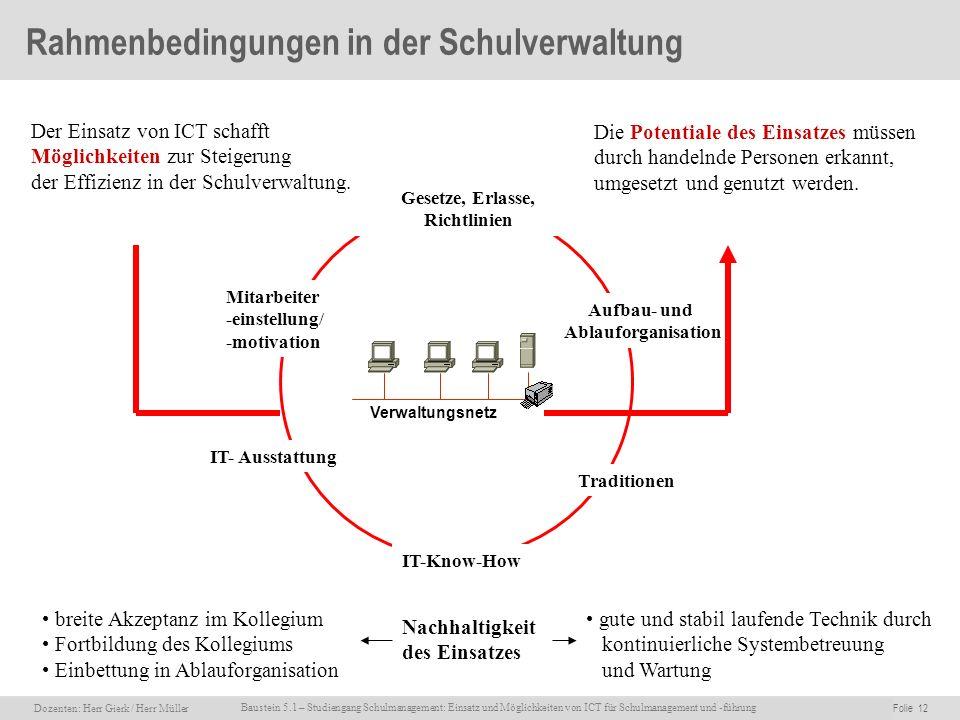 Rahmenbedingungen in der Schulverwaltung