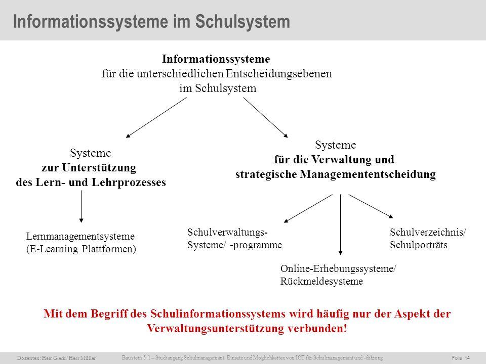 Informationssysteme im Schulsystem