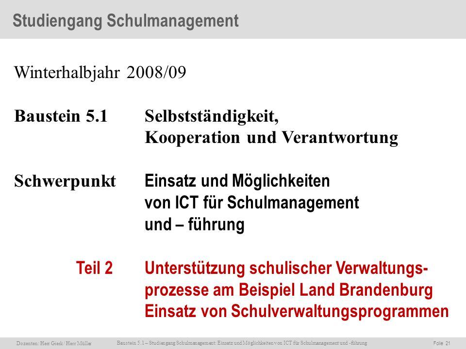 Studiengang Schulmanagement
