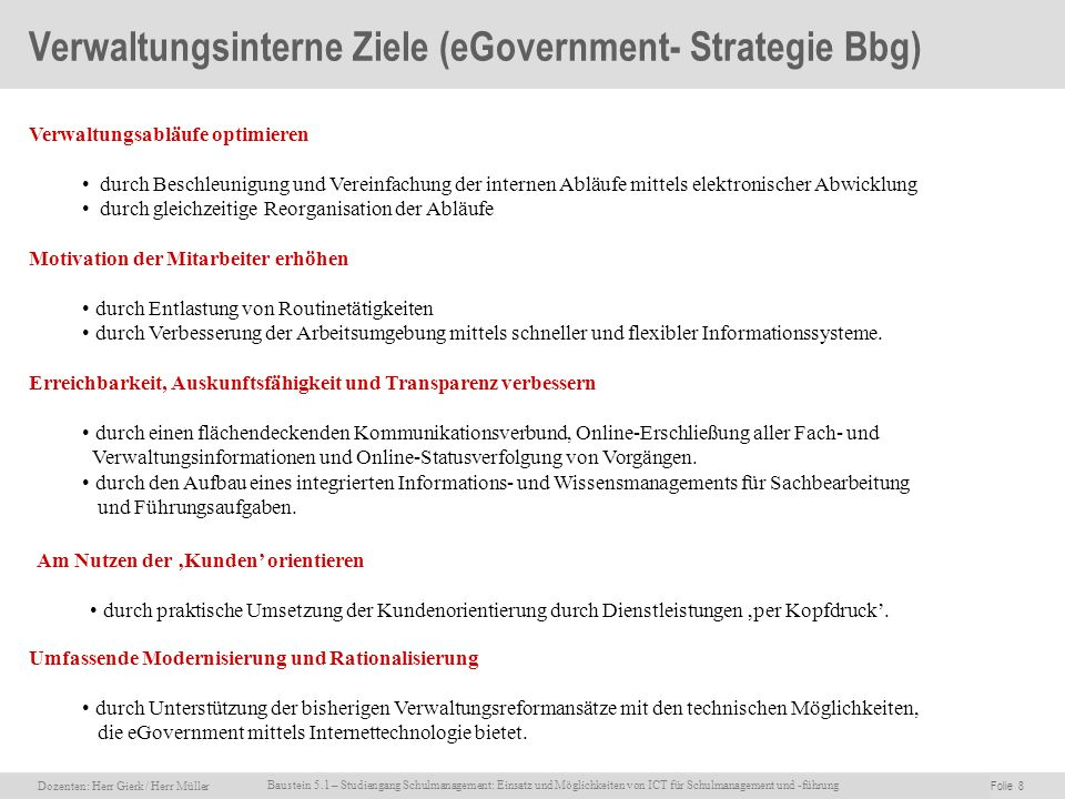 Verwaltungsinterne Ziele (eGovernment- Strategie Bbg)
