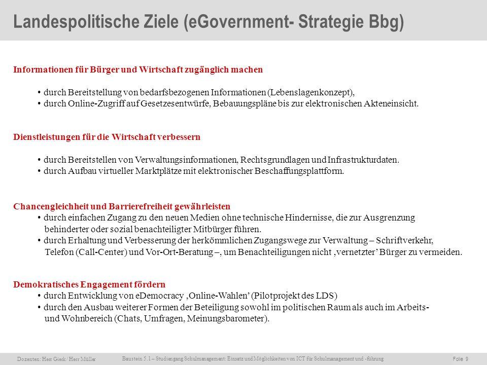 Landespolitische Ziele (eGovernment- Strategie Bbg)