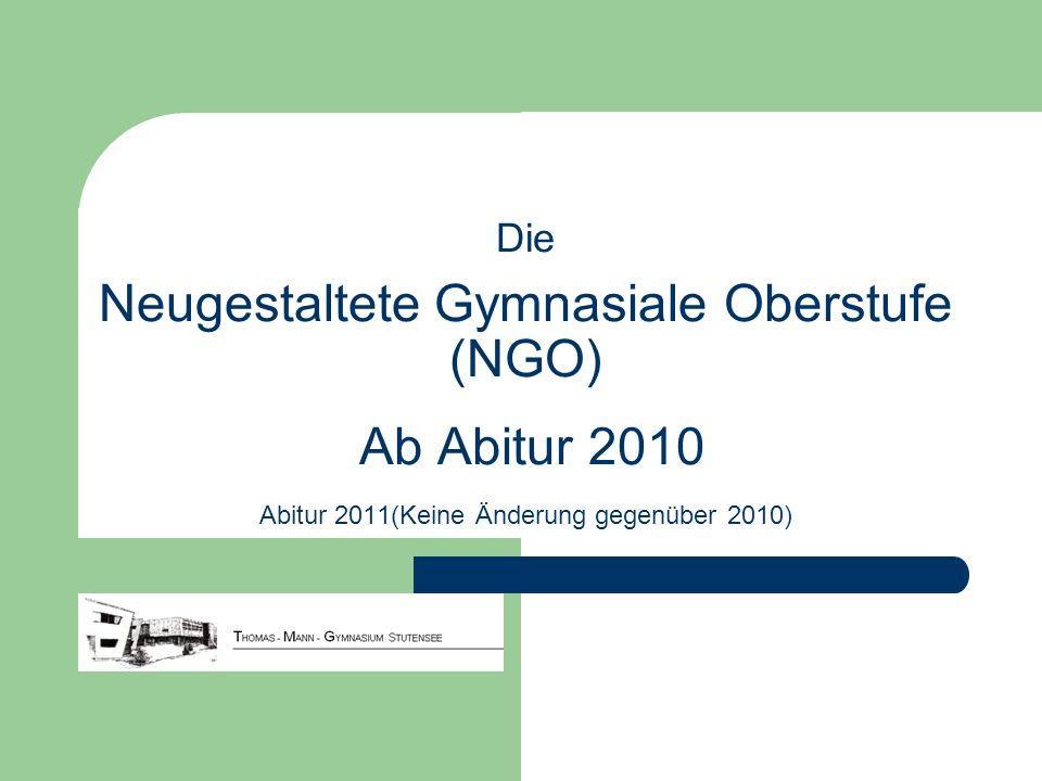 Die Neugestaltete Gymnasiale Oberstufe (NGO) Ab Abitur 2010 Abitur 2011(Keine Änderung gegenüber 2010)