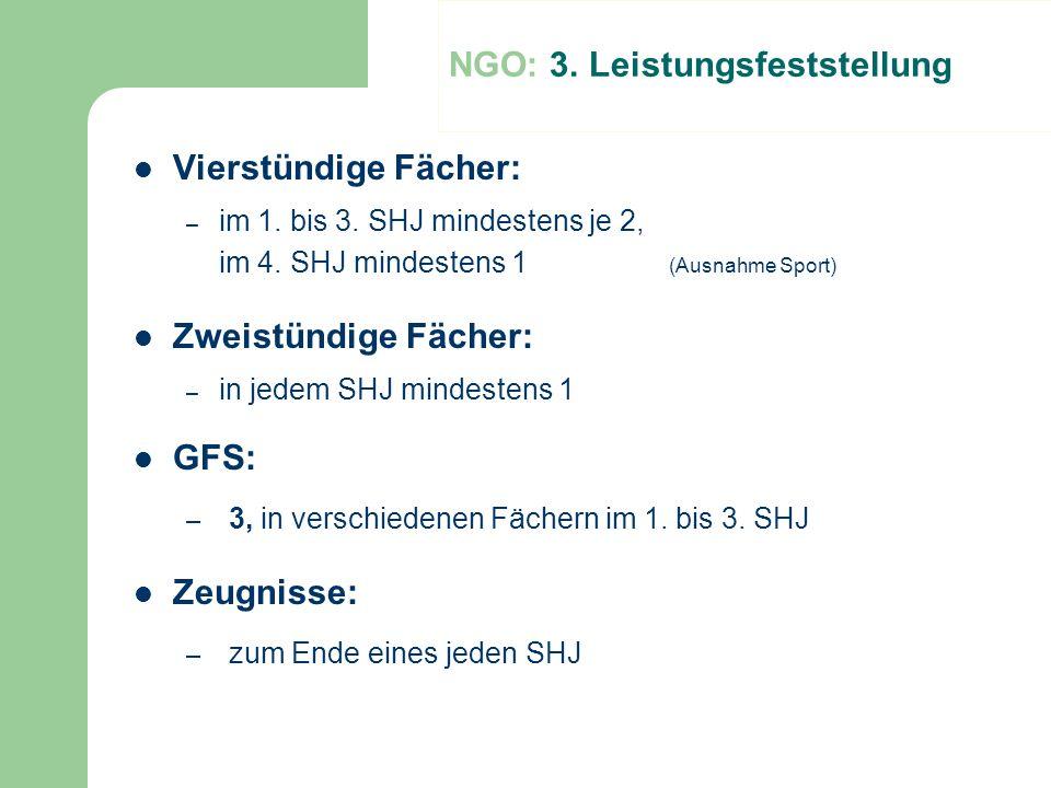 NGO: 3. Leistungsfeststellung