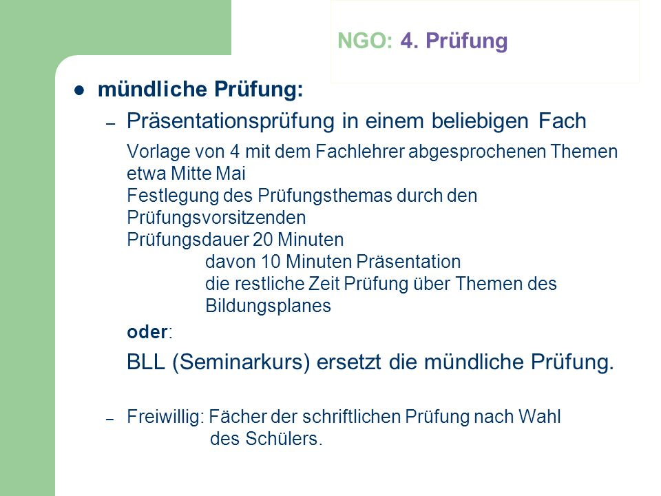 NGO: 4. Prüfung mündliche Prüfung: