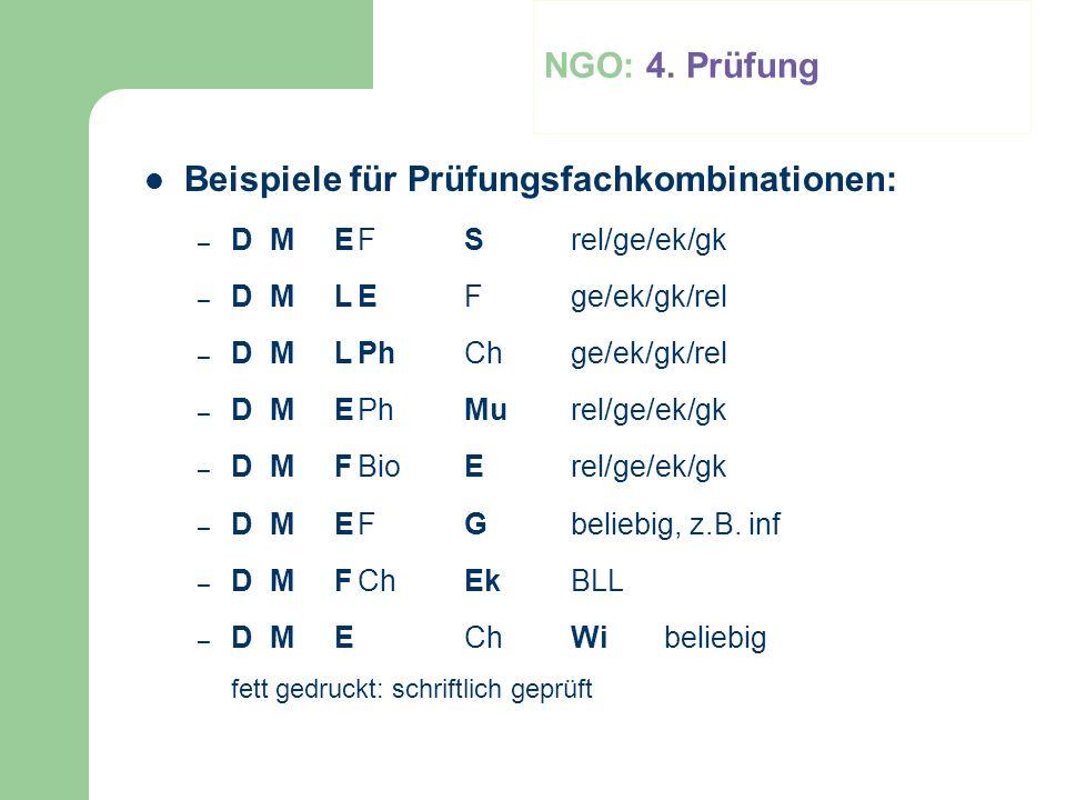 Beispiele für Prüfungsfachkombinationen: