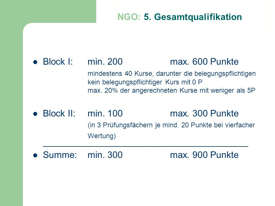 NGO: 5. Gesamtqualifikation