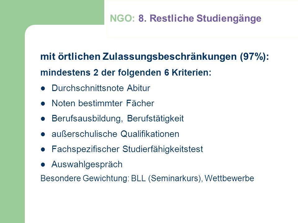 NGO: 8. Restliche Studiengänge
