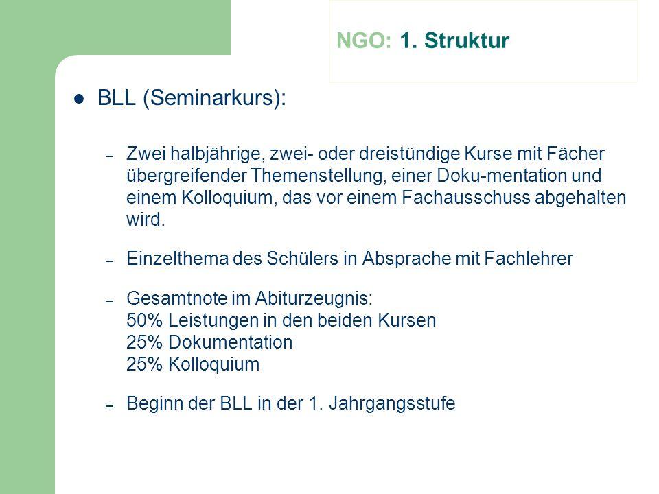 NGO: 1. Struktur BLL (Seminarkurs):