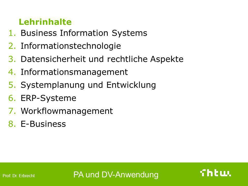Lehrinhalte Business Information Systems. Informationstechnologie. Datensicherheit und rechtliche Aspekte.