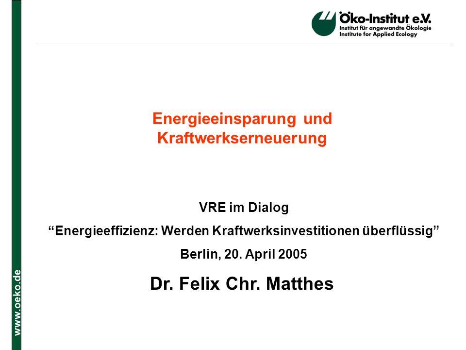 Energieeinsparung und Kraftwerkserneuerung