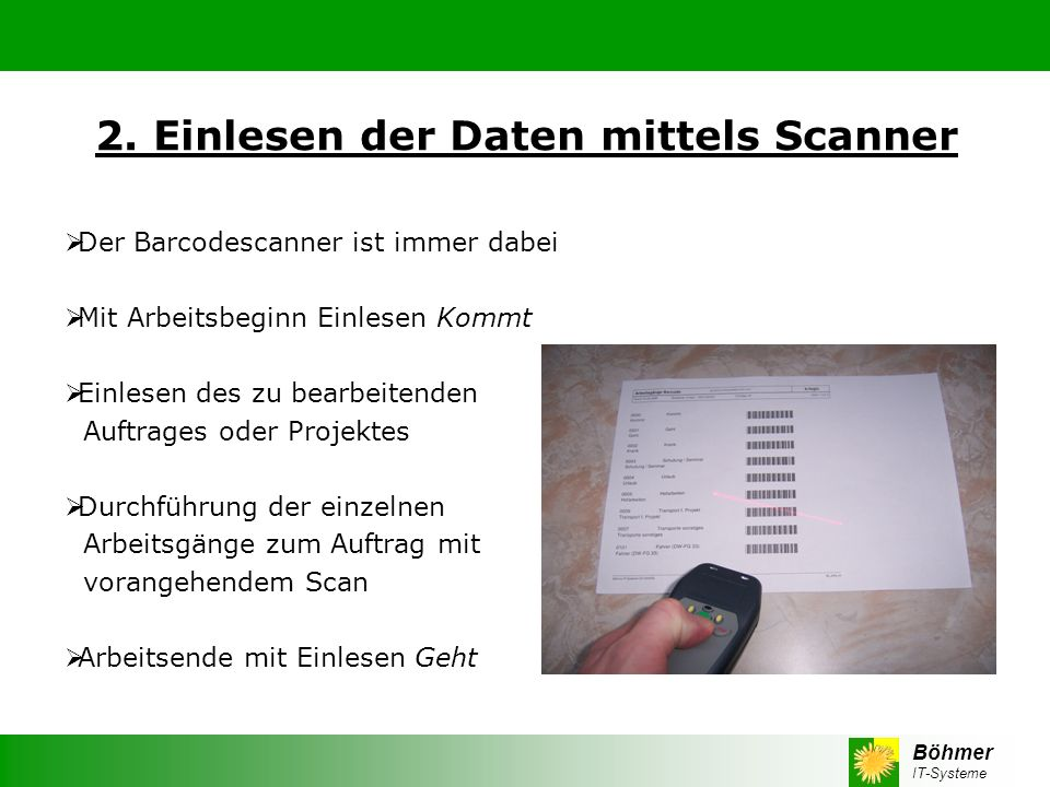 2. Einlesen der Daten mittels Scanner
