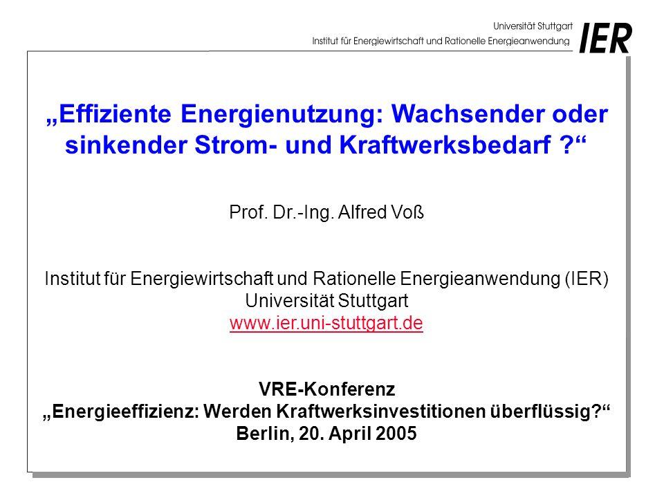 """""""Effiziente Energienutzung: Wachsender oder sinkender Strom- und Kraftwerksbedarf"""