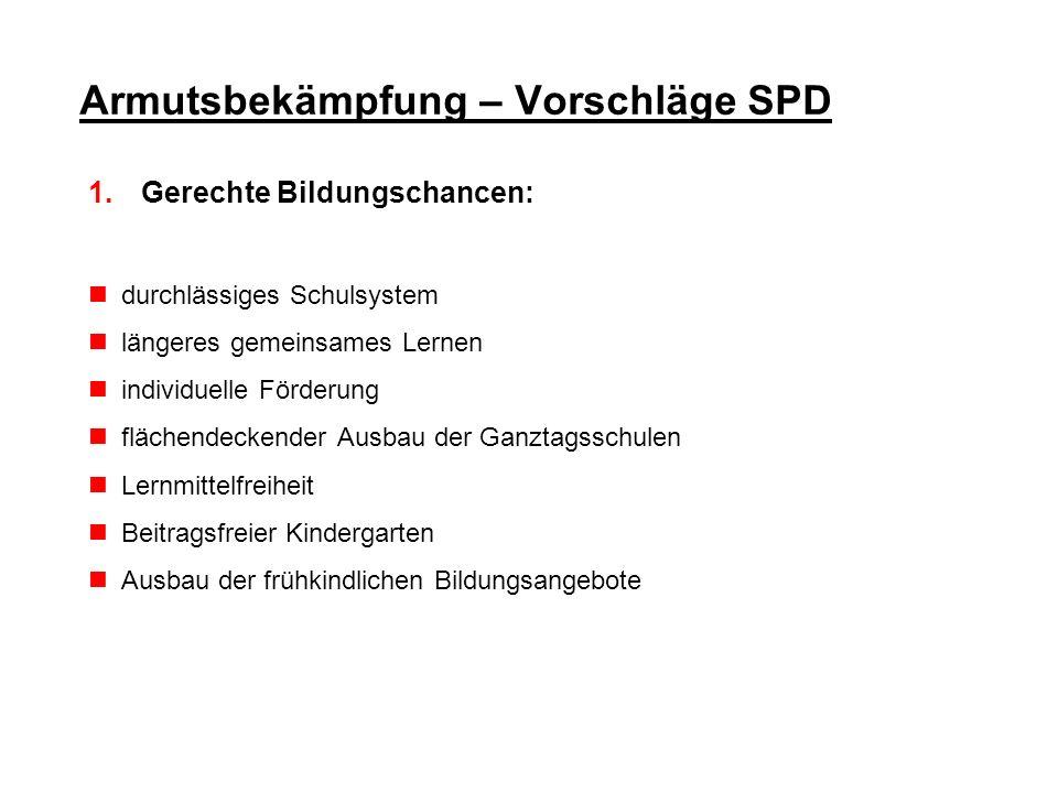 Armutsbekämpfung – Vorschläge SPD