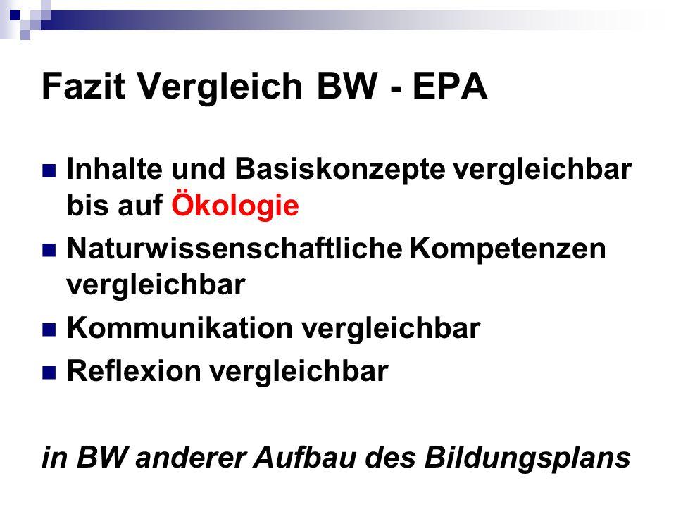 Fazit Vergleich BW - EPA
