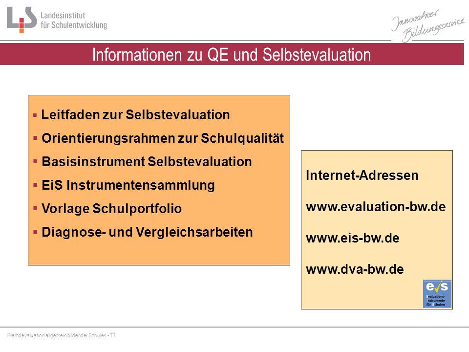 Informationen zu QE und Selbstevaluation