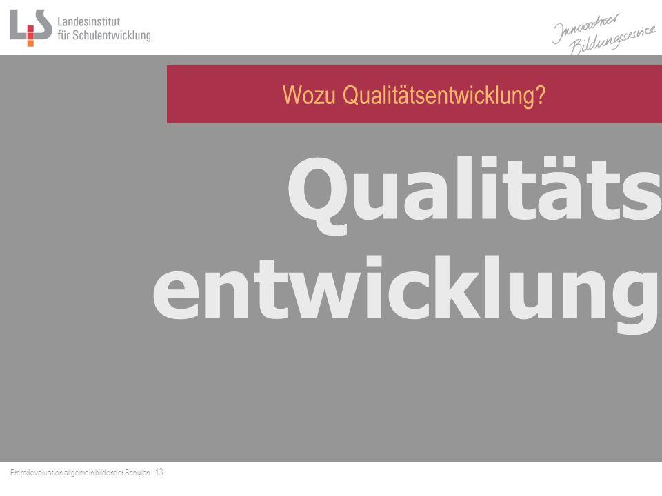 Wozu Qualitätsentwicklung