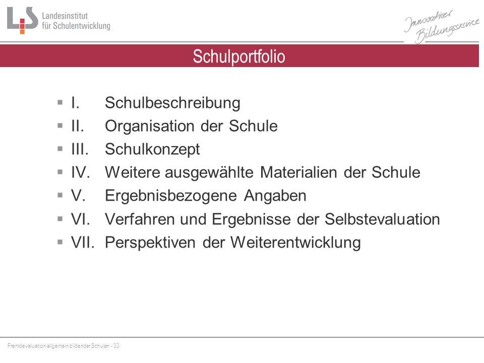 Schulportfolio I. Schulbeschreibung II. Organisation der Schule
