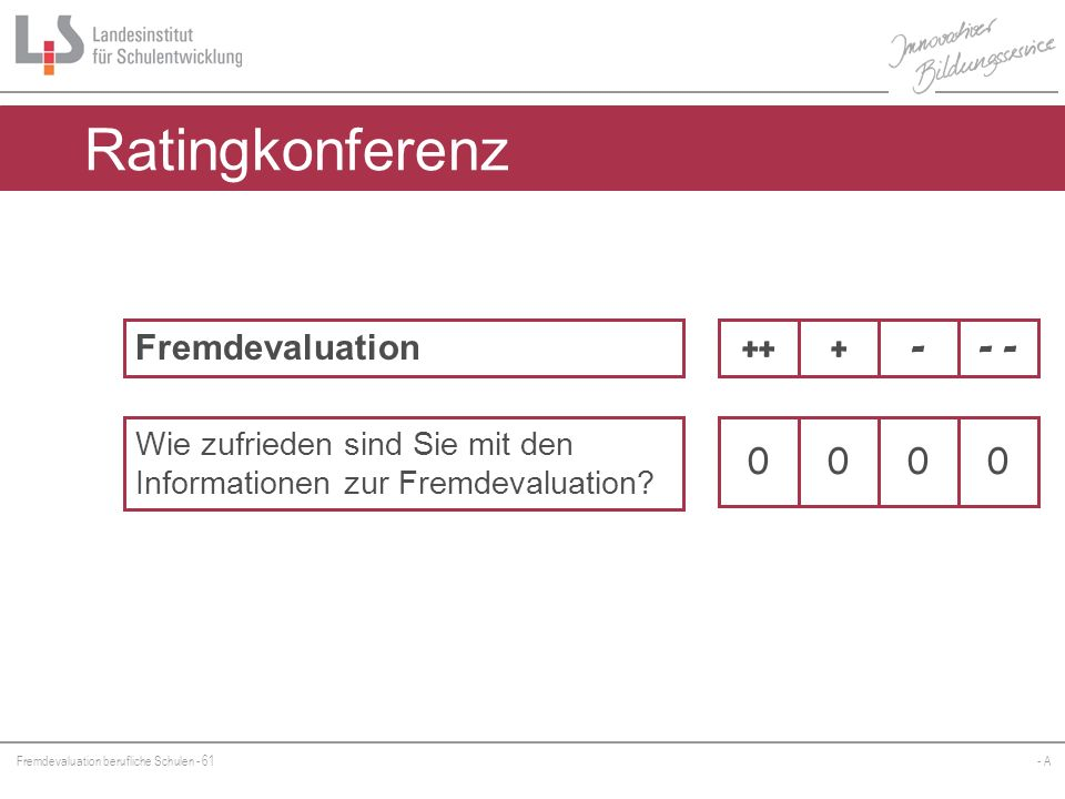 Ratingkonferenz Fremdevaluation ++ + - - -