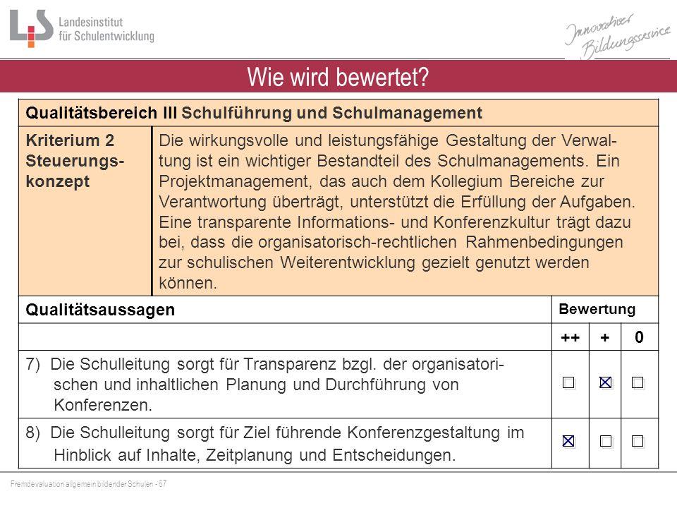 Wie wird bewertet Qualitätsbereich III Schulführung und Schulmanagement. Kriterium 2 Steuerungs-konzept.